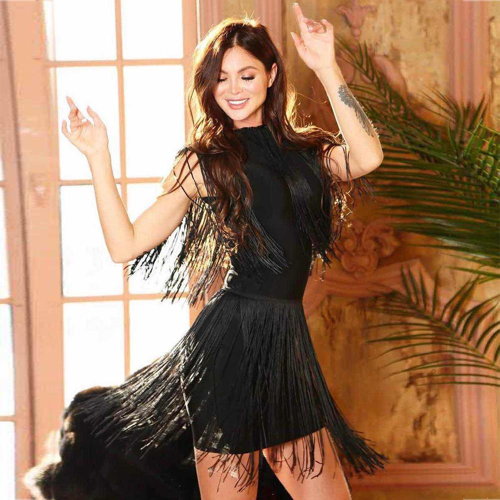Black Turtle Neck Sleeveless Mini Shoulder Tasseled Lumber Heavy Bandage Dress HT0268-Black