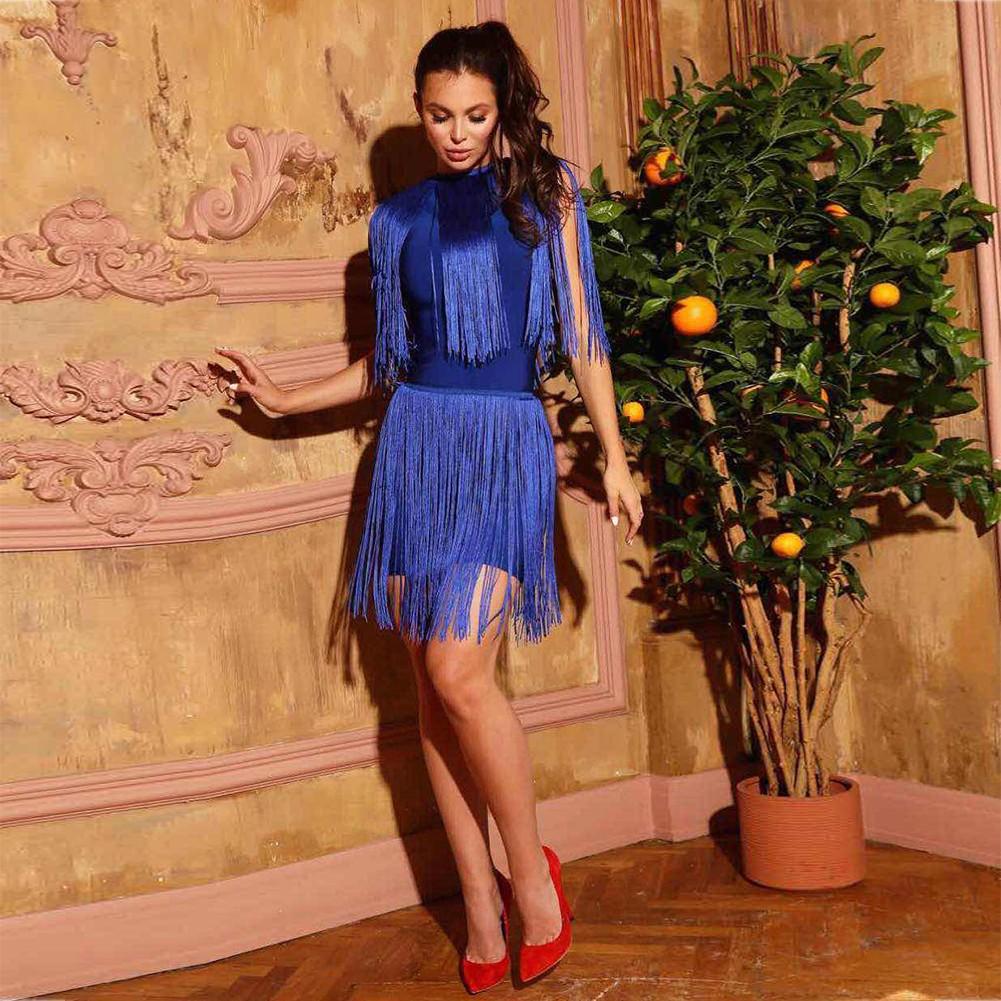 Blue Turtle Neck Sleeveless Mini Shoulder Tasseled Lumber Heavy Bandage Dress HT0268-Blue