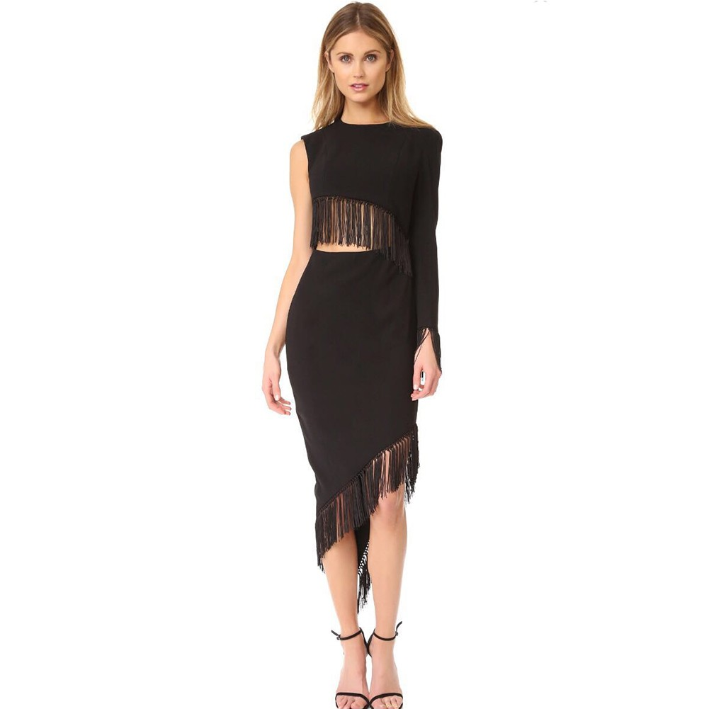 Black Round Neck One Shoulder Over Knee Cutout Tassels High Quality Bandage Dress HT0274-Black