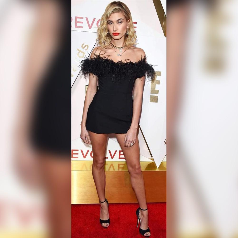 Black Off Shoulder Sleeveless Mini Leather Fashion Bandage Dress HT0289-Black