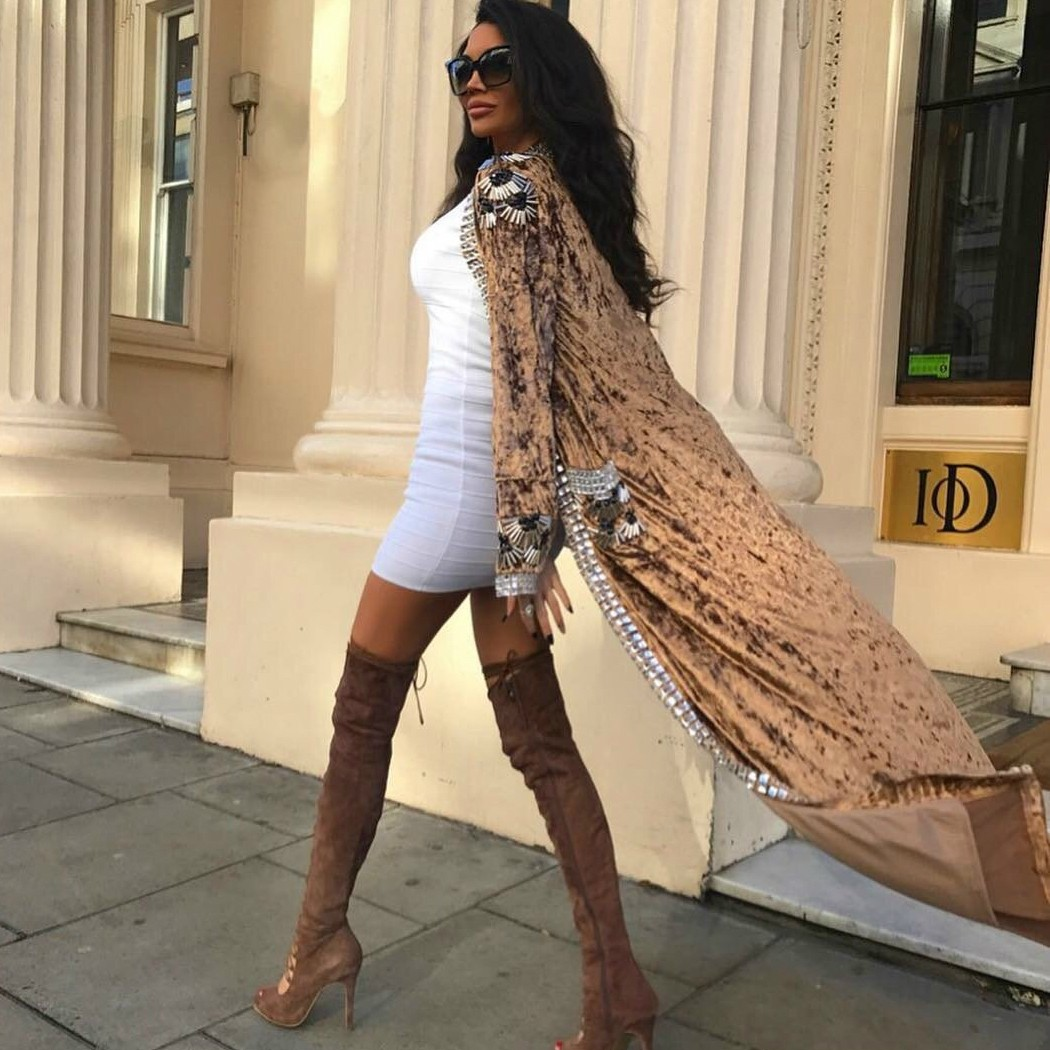 Brown V Neck Long Sleeve Maxi Metal Studded Beaded Long Bodycon Ponchos HT1001-Brown