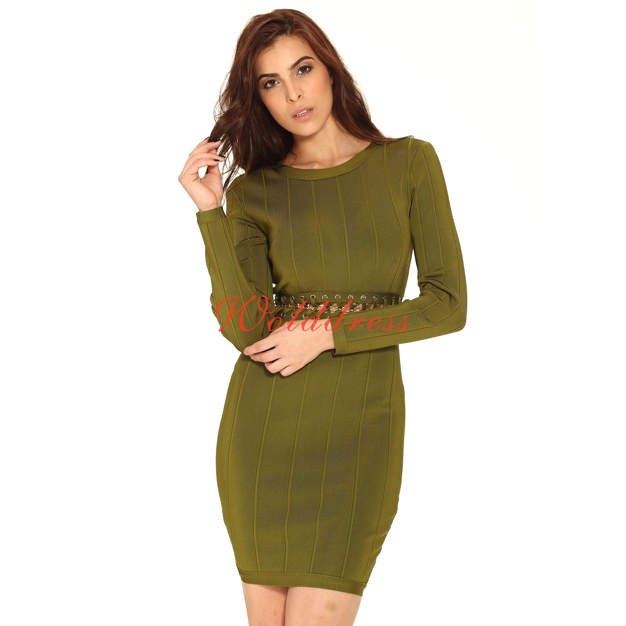 Fashion Round Neck Longsleeve Mini Green Cut Out Metal Crochet Bandage Dress HT1590-Green