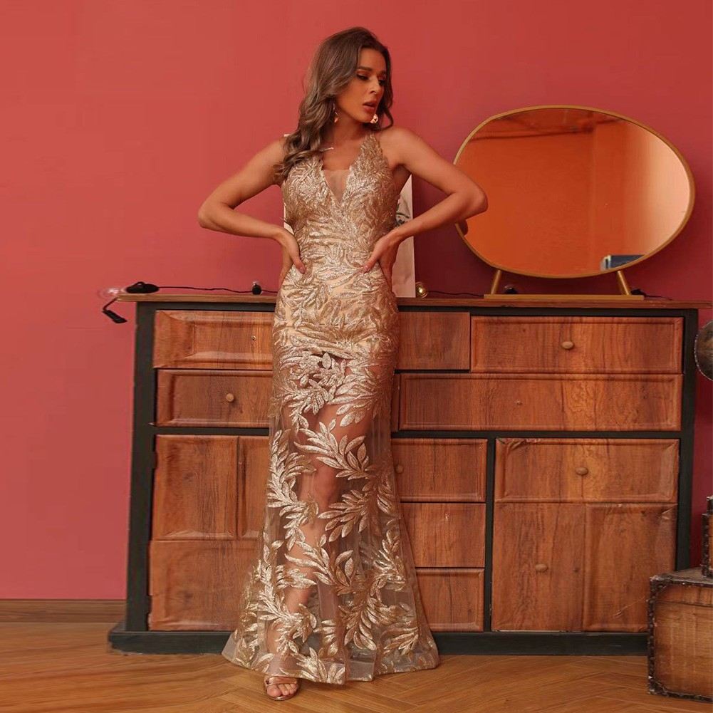 Gold Mesh Sequined Maxi Sleeveless Strappy Bodycon Dress HT2553-Gold