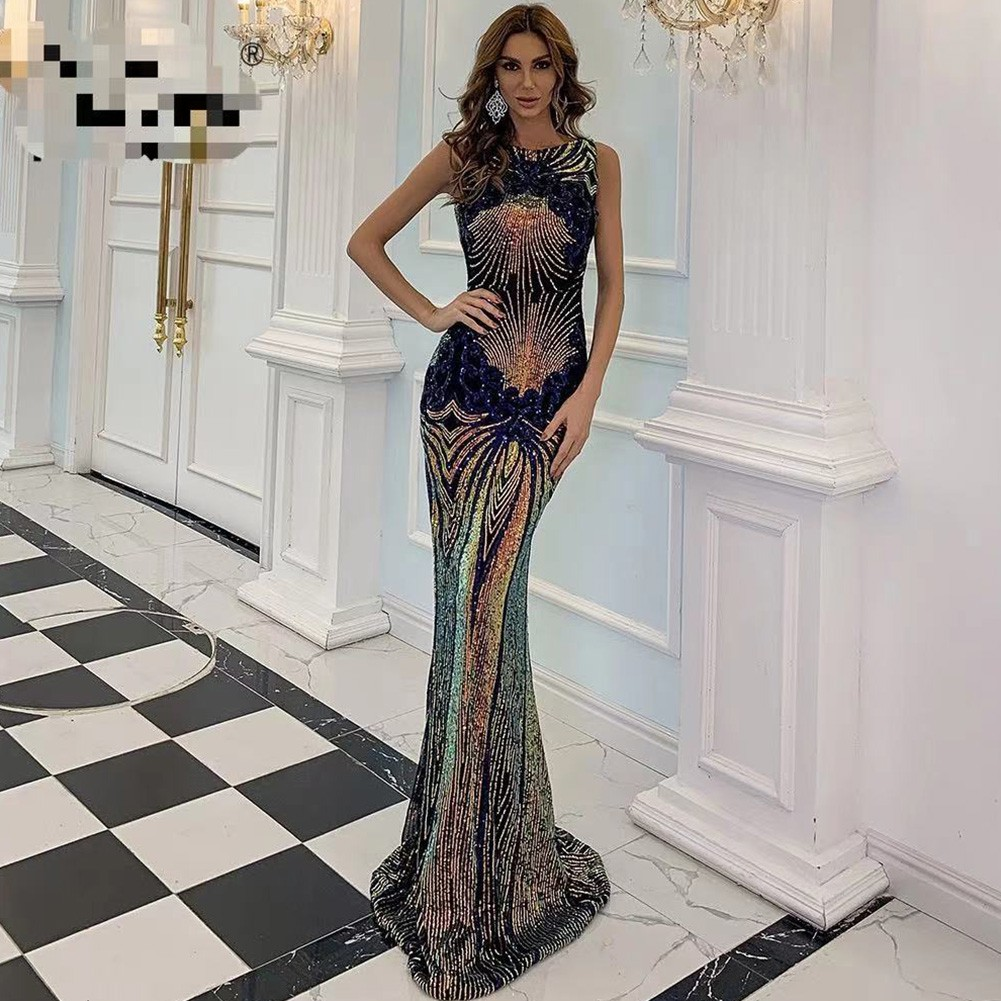 Blue Gold Striped Sequined Maxi Sleeveless Round Neck Bodycon Dress HT2554-Blue-Gold