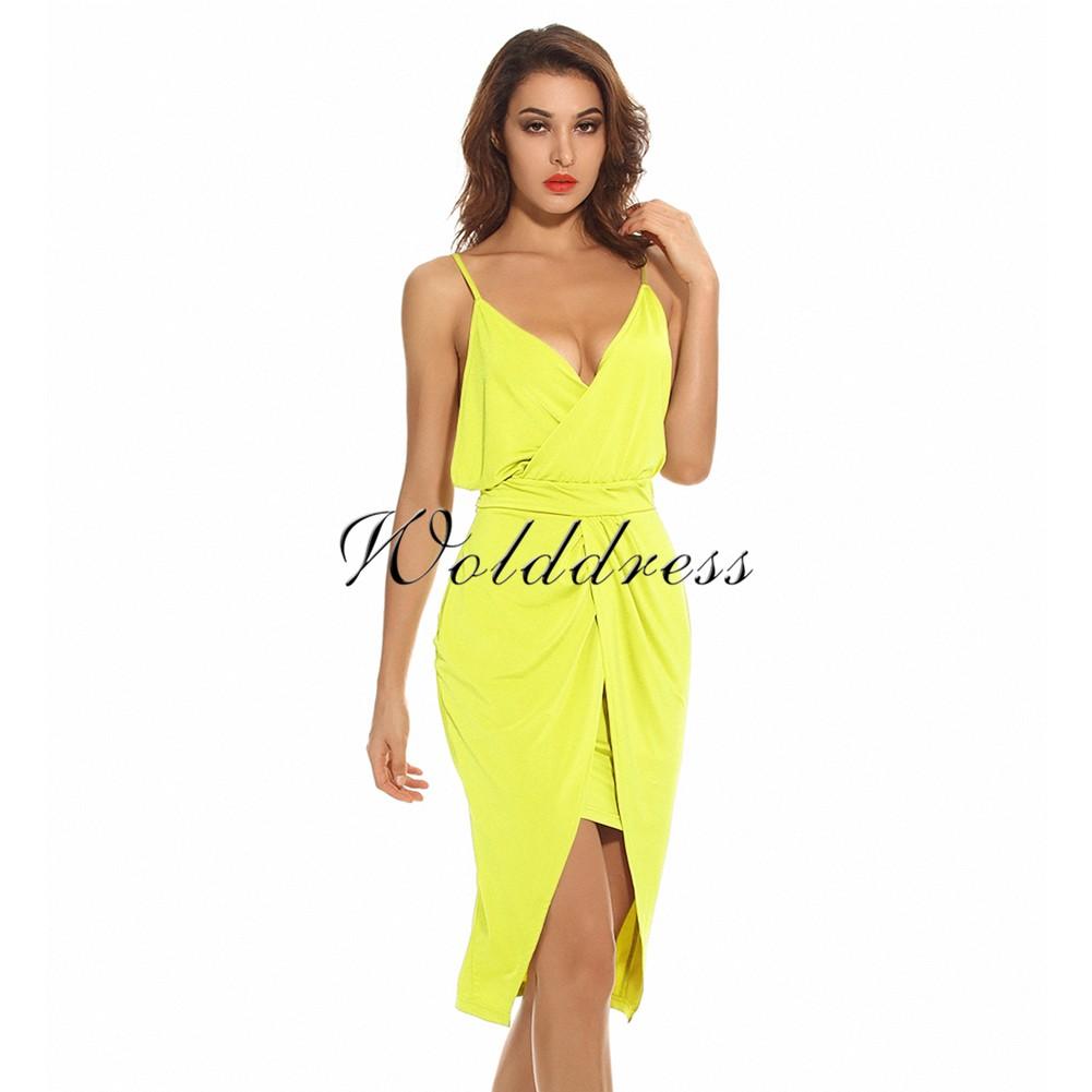 Yellow V Neck Sleeveless Mini Plain Fashion Bodycon Dress HW224-Yellow