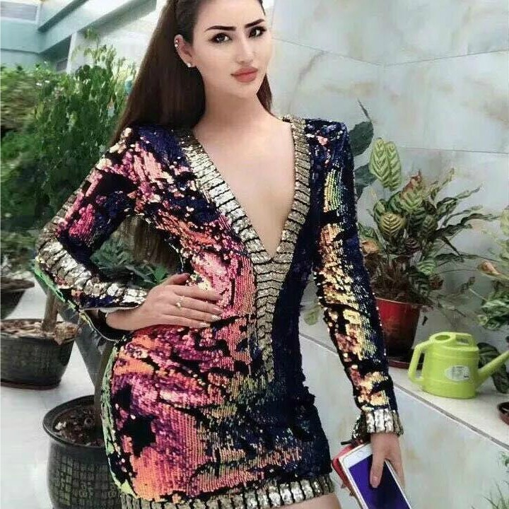 Colorful V Neck Long Sleeve Mini Beaded Match Color Fashion Bodycon Dress HW243-Colorful
