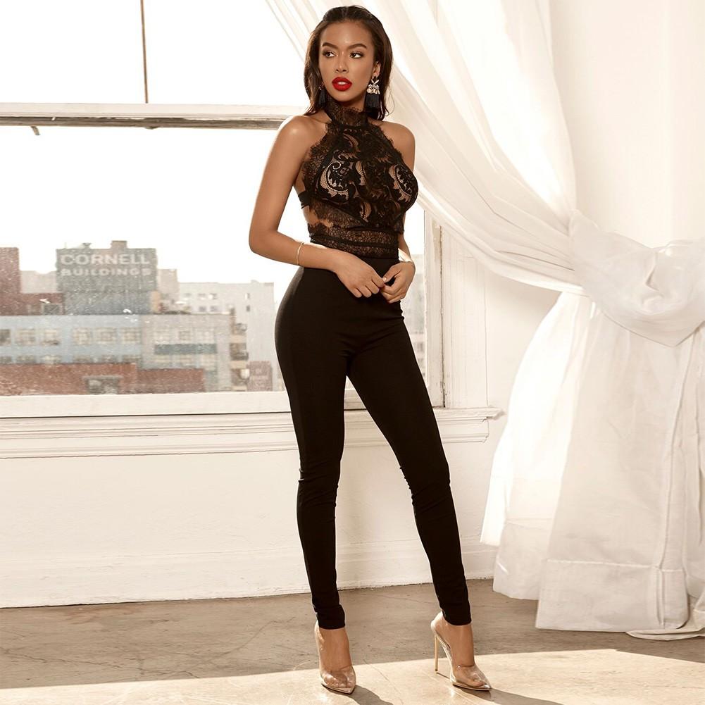 Black Halter Sleeveless Maxi Lace Up Fashion Bandage Jumpsuits PF0105-Black