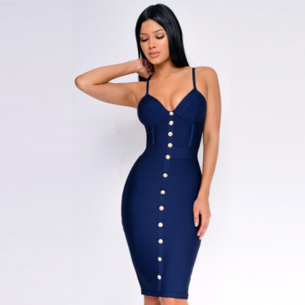 Dark Blue Metal Ornamental Buckle Mini Sleeveless Strapy Bandage Dress PP19149-Dark-Blue