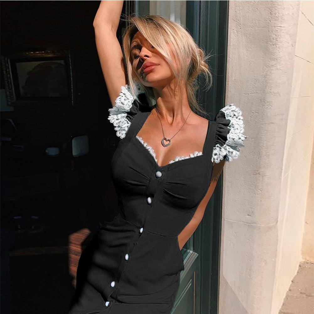 Black Lace Frill Over Knee Sleeveless Strappy Bandage Dress PP19221-Black