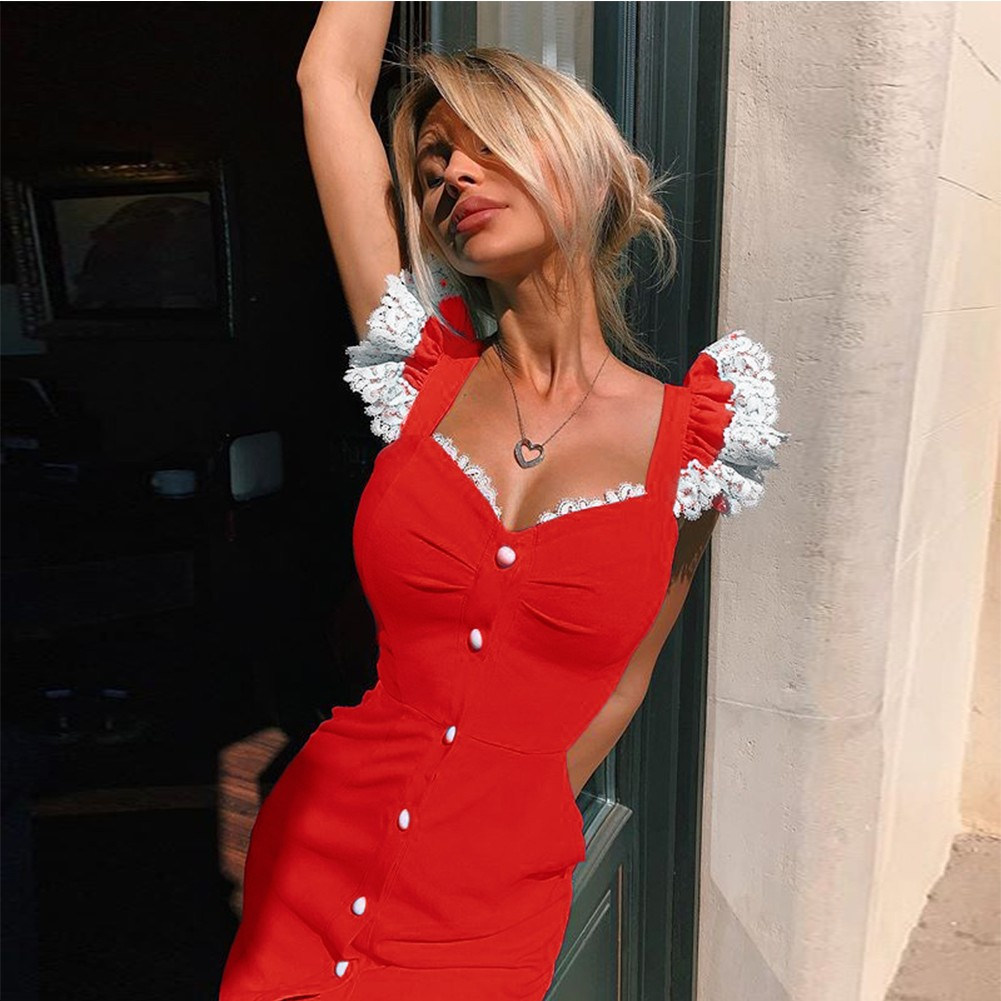 Red Lace Frill Over Knee Sleeveless Strappy Bandage Dress PP19221-Red