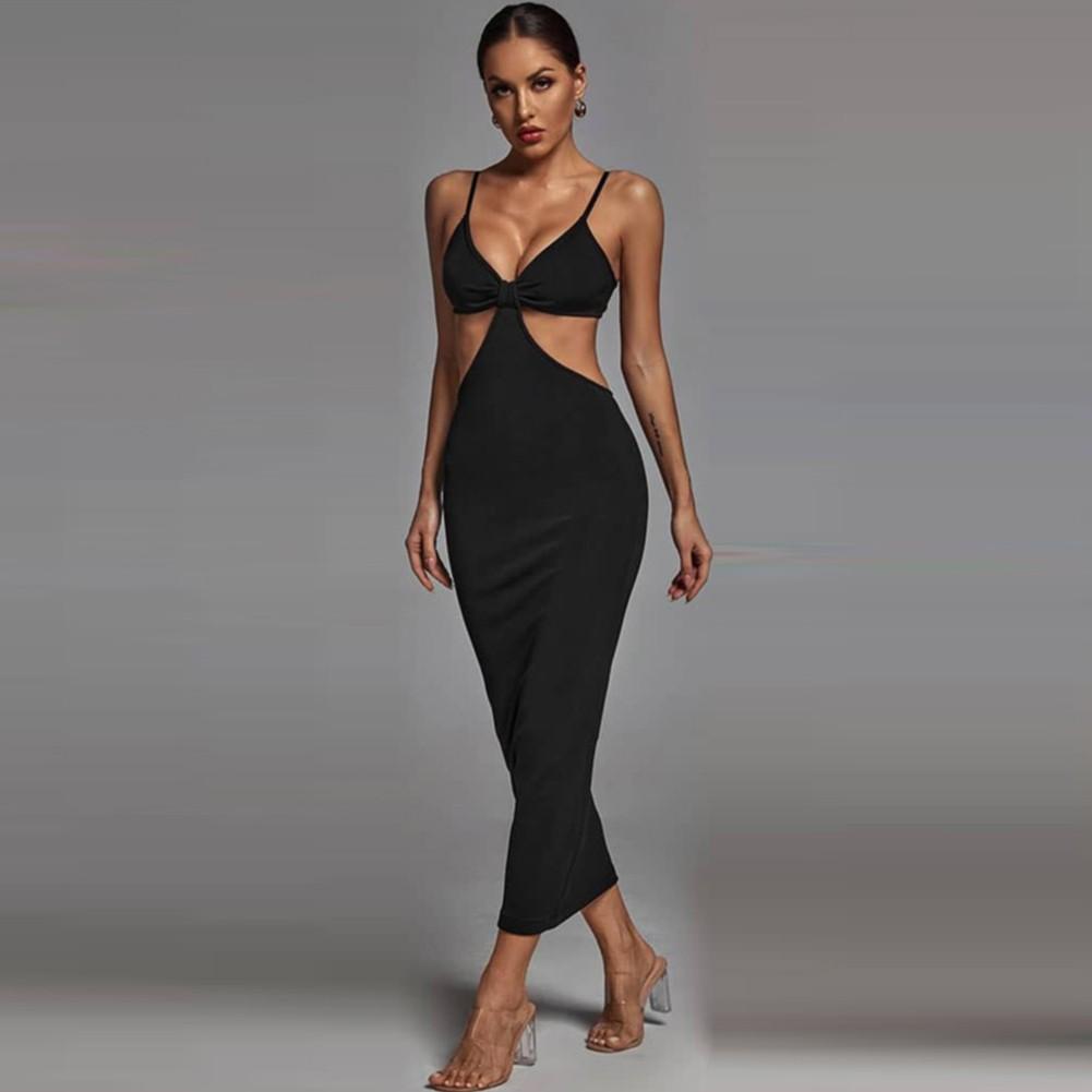 Black Cut Out Exposed Waist Midi Sleeveless Strappy Bandage Dress PP19427-Black