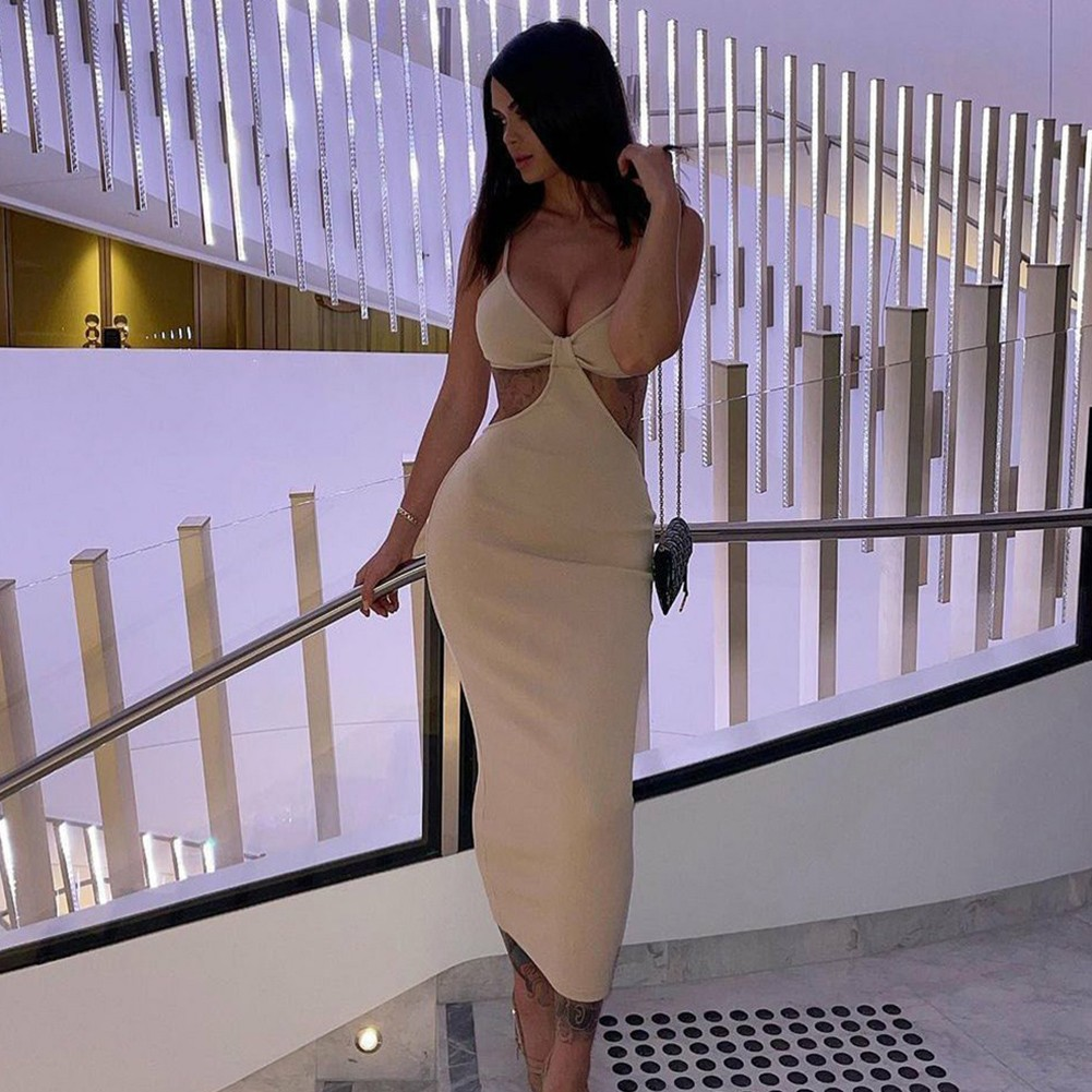 Nude Cut Out Exposed Waist Midi Sleeveless Strappy Bandage Dress PP19427-Nude