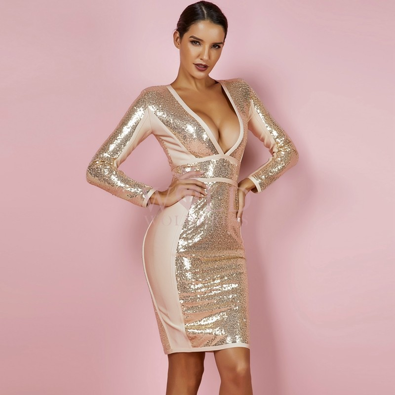 Gold V Neck Long Sleeve Mini Sequins Party Bandage Dress PPHJ671-Gold