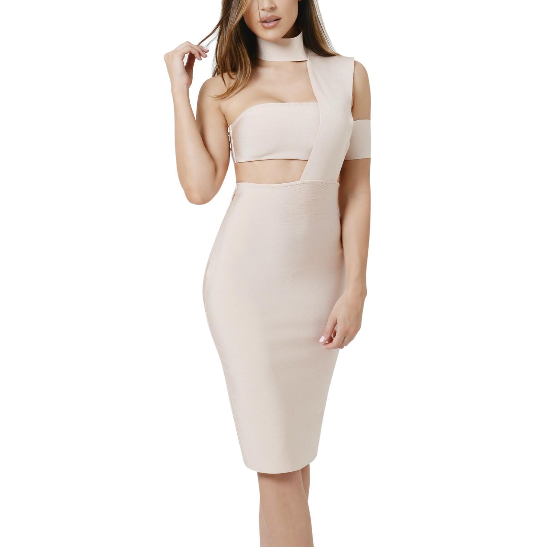 Halter Sleeveless Mini Cutout Nude high quality bandage dress PRS008-Nude