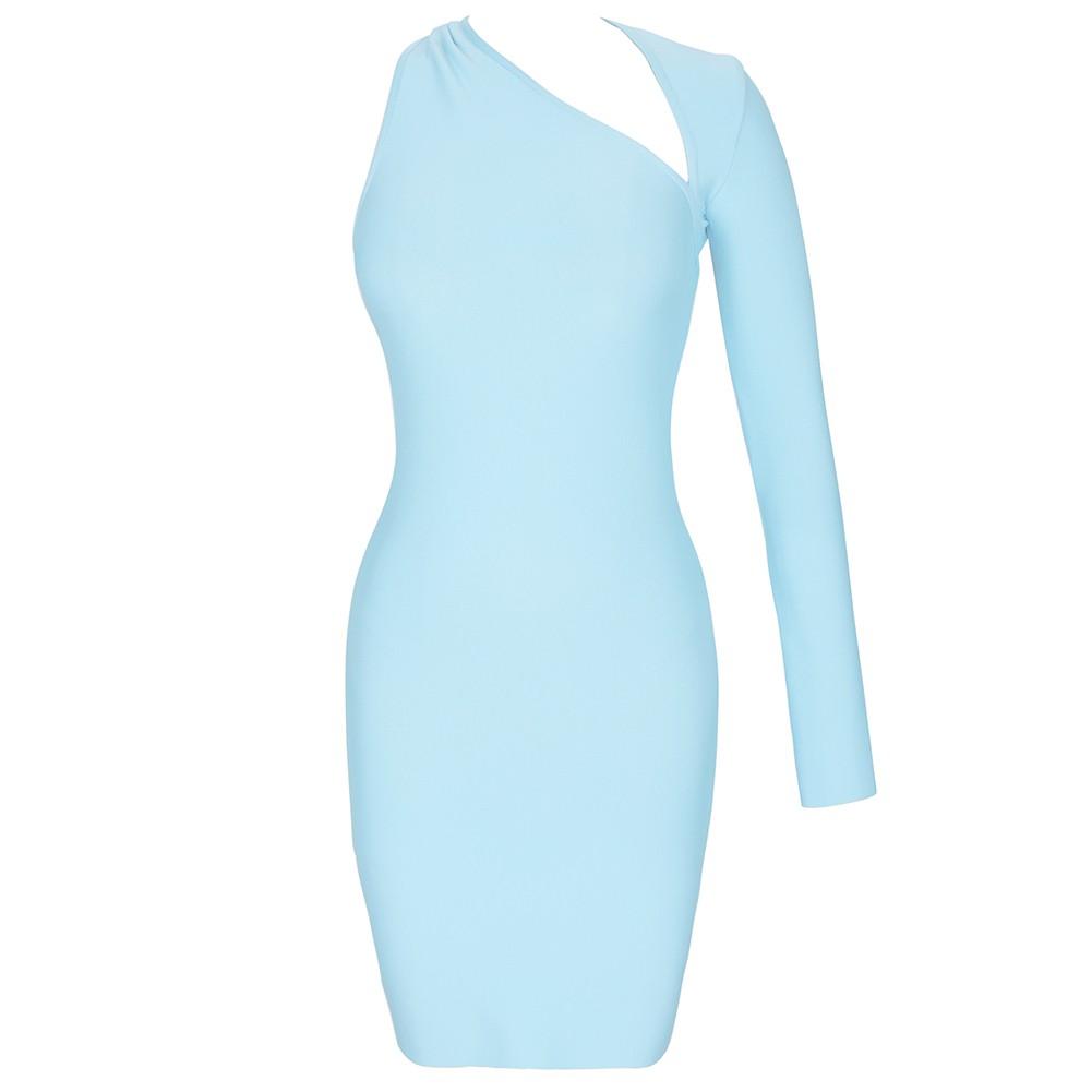 Light Blue Distinctive Asymmetrical Mini Long Sleeve Halter Bandage Dress PZ19259-Light-Blue