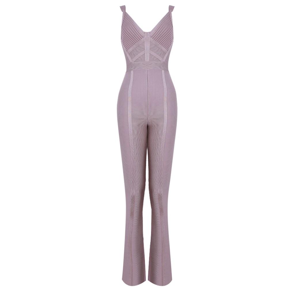 Gray V Neck Sleeveless Maxi Plain Simpleness High Quality Bandage Jumpsuits HK015-Gray