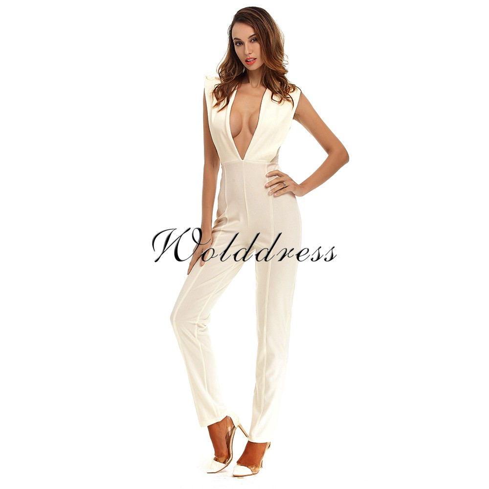 Deep V Neck Sleeveless One Piece Cut Out Nude Good Quality Bodycon Jumpsuits Sp002-Nude