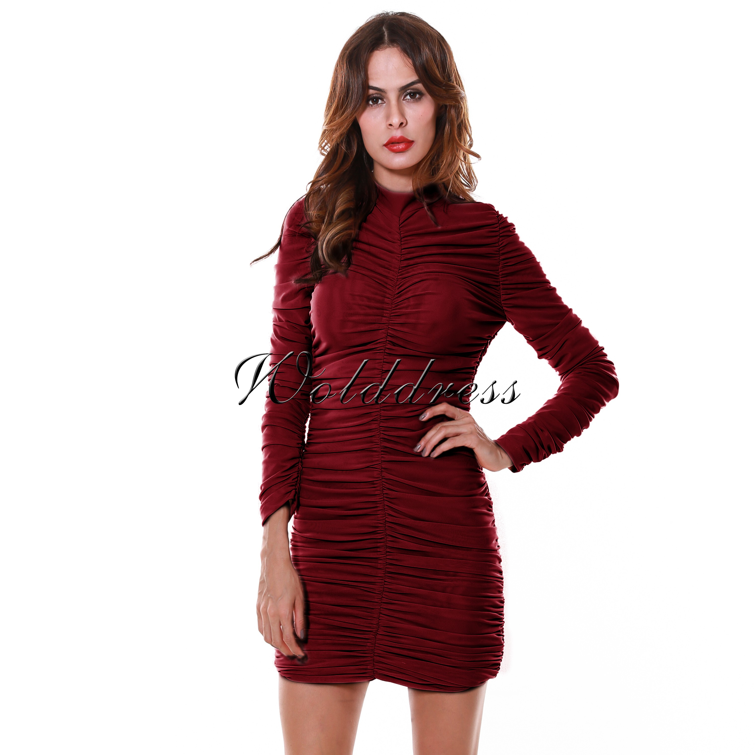 High Quality Round Neck Longsleeve Mini Wine Lace Bodycon Dress SP031-Wine
