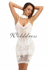 White V Neck Sleeveless One Piece Lace Short Sexy Bodycon Dress HD397-White