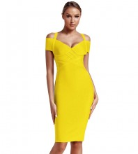 Yellow Strapy Over Knee Mid Sleeve V Neck Bandage Dress PF19089-Yellow