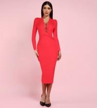 Red V Neck Long Sleeve Mini High Quality Bandage Dress PFHJ649-Red