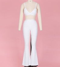 White Strap Sleeveless 2 Piece Deep V Fashion Bandage Set YF0003-White