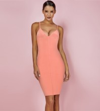 Peach Strapy Sleeveless Mini Backless Bandage Dress PF19001-Peach