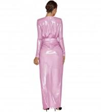 Maxi Pink V Neck Long Sleeve Tie Asymmetrical Bodycon Dress HI1131-Pink