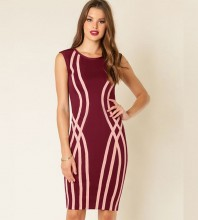 Wine Round Neck Short Sleeve Over Knee Plat Party Bandage Dress HI916-Wine