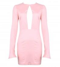 Pink Round Neck Long Sleeve Mini Cutout Evening Bodycon Dress HD502-Pink