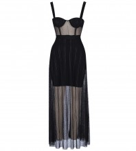 Rayon - Black Strapy Sleeveless Maxi Meshed With Breast Pad Transparent Bandage Dress SW041-Black