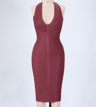 Wine Halter Sleeveless Knee Length Stripped Sexy Bandage Dress PP0607-Wine