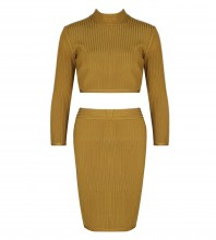 Green Round Neck Long Sleeve 2 Piece Simpleness Ribbed High Quality Bandage Dress HI911-Green