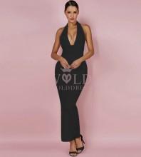 Black Halter Sleeveless Mini Fashion Bandage Dress PF0901-Black