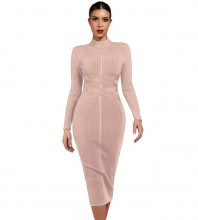 Nude Round Neck Long Sleeve Knee Length Ribbed Lace Up Party Bandage Dress PF1201-Nude