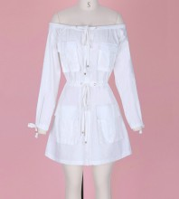 White Off Shoulder Long Sleeve Mini Drawstring Waist Sexy Bodycon Dress DF220297-White