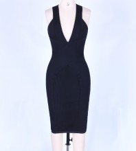 Black V Neck Sleeveless Mini Fashion Bandage Dress PF1104-Black