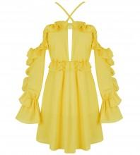 Yellow Strapy Long Sleeve Mini Flouncing Bodycon Dress HI1042-Yellow