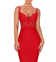 Red Strapy Sleeveless Mini Mesh  Bandage Dress PF19006-Red