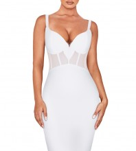 White Strapy Sleeveless Mini Mesh  Bandage Dress PF19006-White