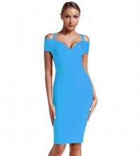 Blue Strapy Over Knee Mid Sleeve V Neck Bandage Dress PF19089-Blue