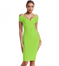 Green Strapy Over Knee Mid Sleeve V Neck Bandage Dress PF19089-Green