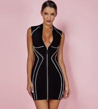 Black Zipper Mini Sleeveless High Neck Bandage Dress HT2092-Black