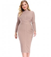 Nude Striped Over Knee Long Sleeve High Neck Bandage Dress DPF1201-Nude