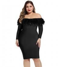 Mini Black Off Shoulder Long Sleeve Plume Bandage Dress DPF19183-Black