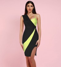 Black Asymmetrical Slit Over Knee Sleeveless Strapy Bandage Dress HK19154-Black