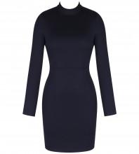 Black Round Neck Long Sleeve Mini Cut Out Fashion Bodycon Dress HI984-Black