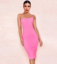 Pink Over Knee Sleeveless Strapless Bandage Dress PP19101-Pink