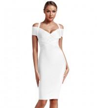 White Striped Over Knee Short Sleeve Strapy Bandage Dress PF19089-White