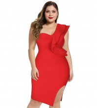 Red Rippled Edge Slit Over Knee Sleeveless One Shoulder Bandage Dress DPM1205-Red